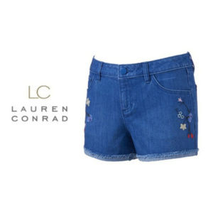 LC Lauren Conrad 16 Embroidered Jean Shorts NWT